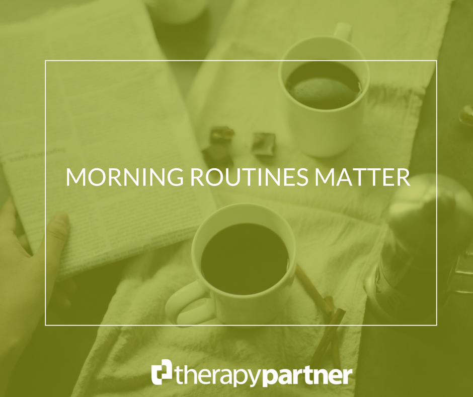 image of coffee cups and newspaper with green overlay and text Morning Routines Matter